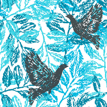 pigeons: Seamless pattern with laurel branches and pigeons