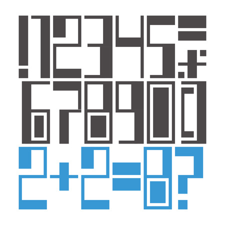 modifiable: Easily modifiable geometric font: numbers and marks Illustration