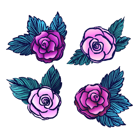 vectored: Old style vectored roses on white backgroundVintage roses collectionTattoo design roses