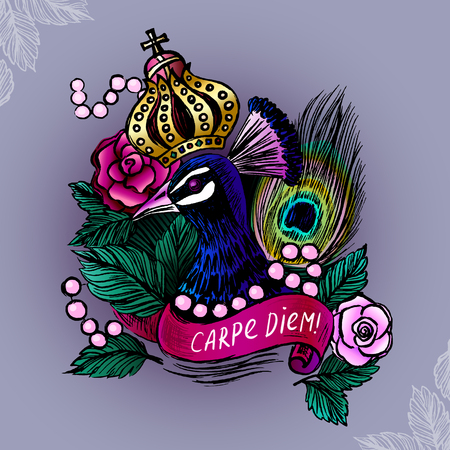 Illustration with crowned peacock in pearls on roses backgroundVector illustration with ink hand drawn peacockVector peacockPeacock illustrationColored ink hand drawn peacock