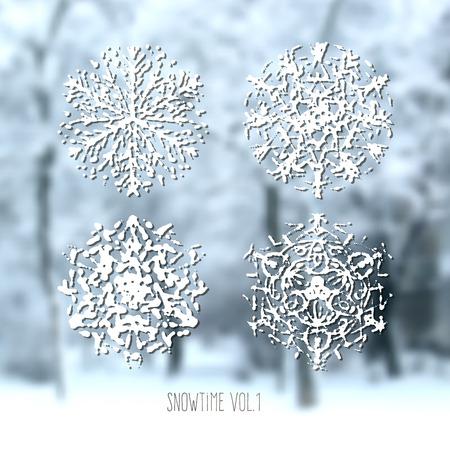 flocon de neige: Collecte des flocons de neige sur fond flou hiver