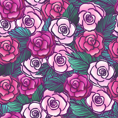 vectored: Old style vectored roses seamless patternTattoo design roses ornament