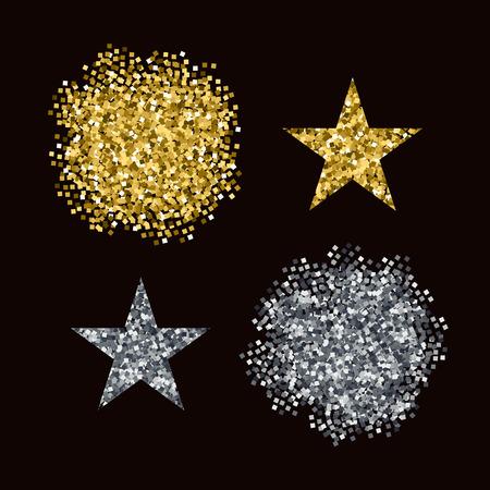 silver: Editable brushes Golden and Silver glitter Illustration