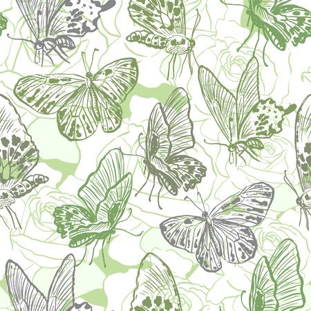 papillon dessin: Seamless avec des papillons