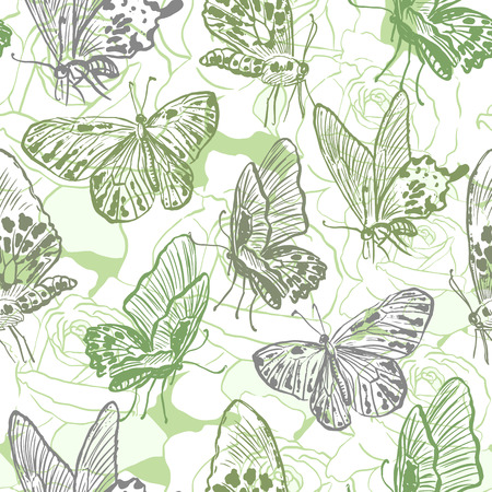 retro patterns: Seamless pattern with butterflies