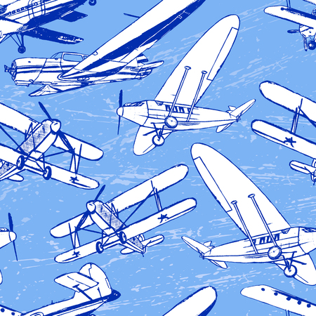 supersonic: Ink hand drawn old airplanes