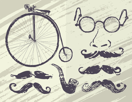 fake nose and glasses: collection retro elements Illustration
