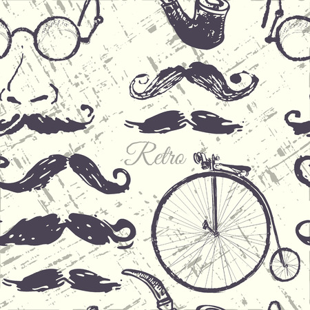 fake mustaches: collection retro elements Illustration