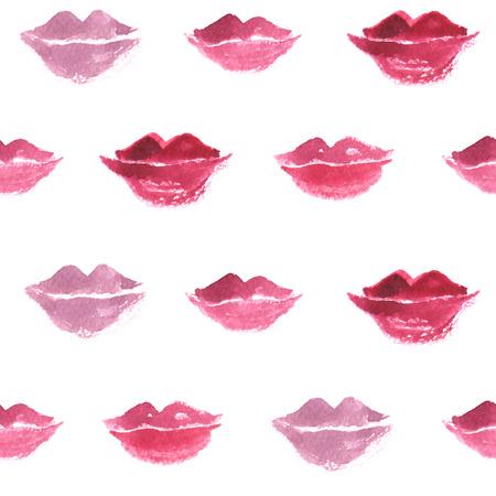 pink lips: Pink lips watercolor seamless pattern