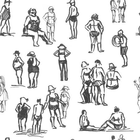 bocetos de personas: Las personas bosquejos patrón transparente