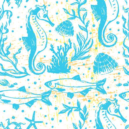 ink illustration: Ink hand drawn sealife seamless pattern
