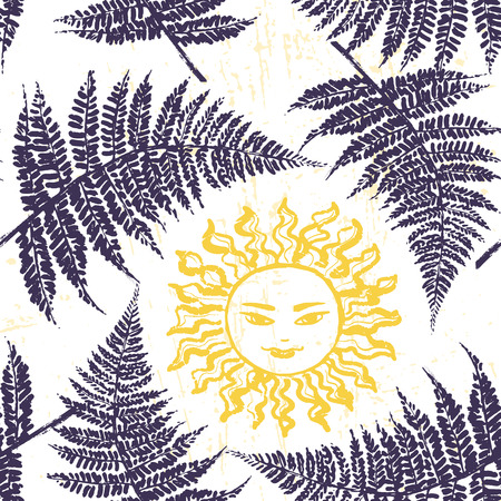 summer solstice: Ivana Kupala ink hand drawn seamless pattern Illustration