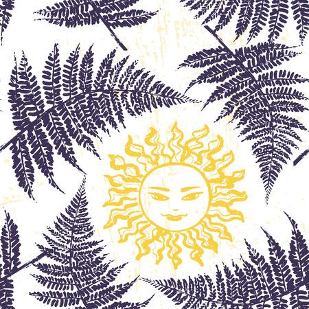 Ivana Kupala ink hand drawn seamless pattern Illustration