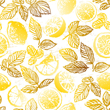 Ink hand drawn herbal tea with lemon seamless pattern