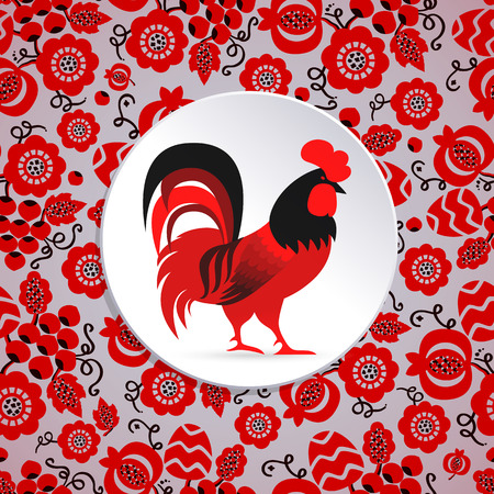 ornamented: Red cock illustration. New year symbol on ornamented background Illustration