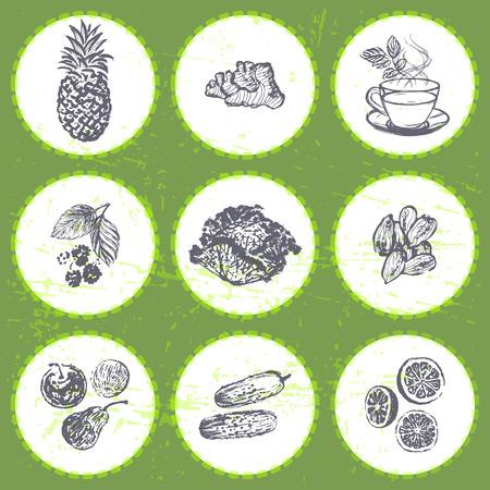 Ink hand drawn fat burners fruits and veggies Illustration