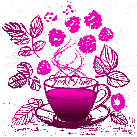 common cold: Ink hand drawn cup of raspberry tea. Common cold treatment illustration.