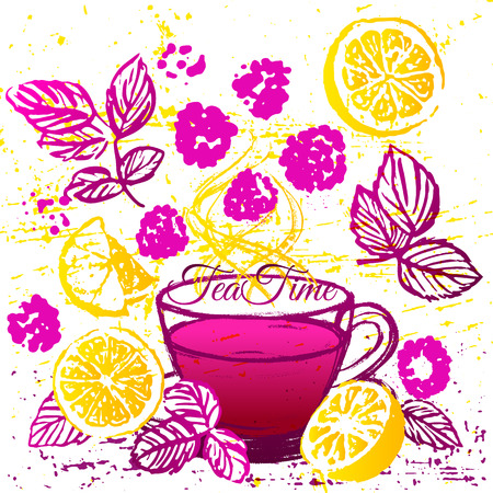 common cold: Ink hand drawn cup of raspberry tea with lemon. Common cold treatment illustration.