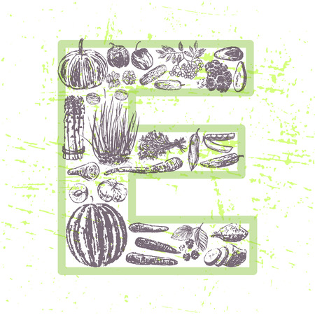 vitamin e: ink hand drawn fruits and vegetables that contain vitamin E Illustration