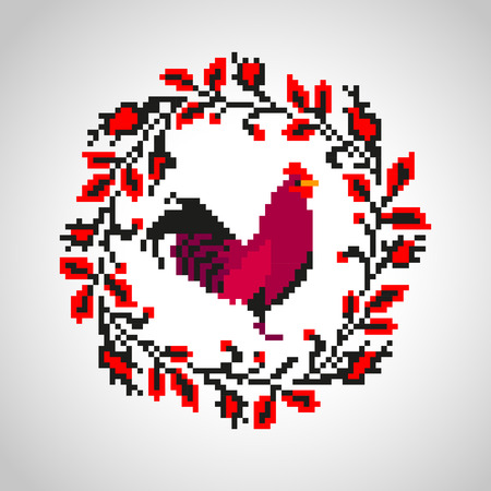 red cross red bird: Red fire rooster embroidery as symbol of 2017