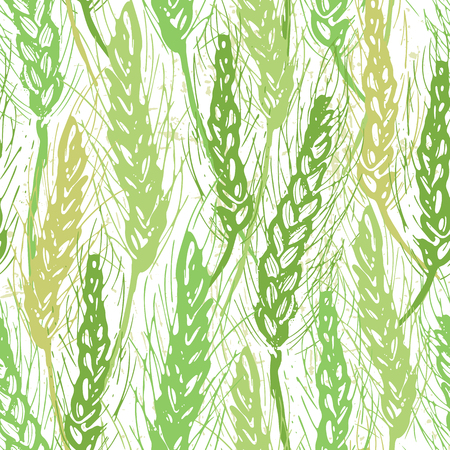 Ink hand drawn cereal field seamless pattern