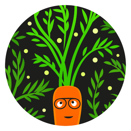 Reggae Veggie. Funny carrot character with afro hairstyle.