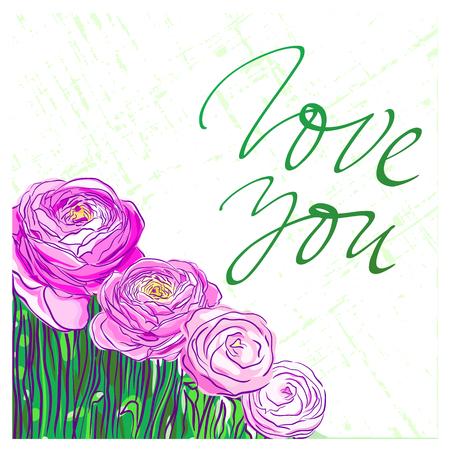 Lieben Sie Sie, beschriftend auf Hintergrund mit rosa Ranunculusblumen / Hand gezeichnete Blumenvektorkarte Standard-Bild - 79652069