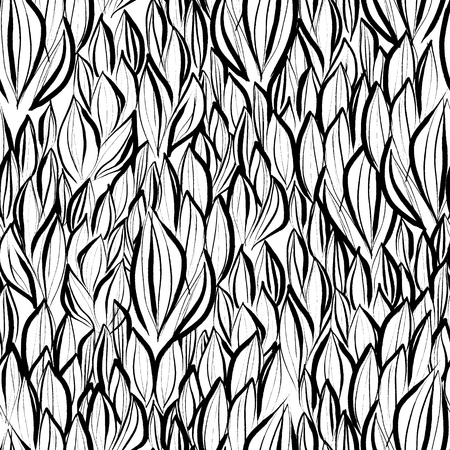 mesh: Ink hand drawn abstract flora seamless pattern