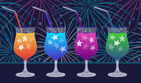 Ink hand drawn party drink colorful collection Night scene on fireworks background Illustration