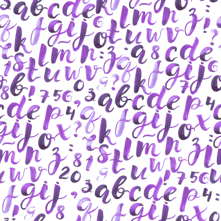 Seamless pattern with brush pen and watercolor alphabet lettering