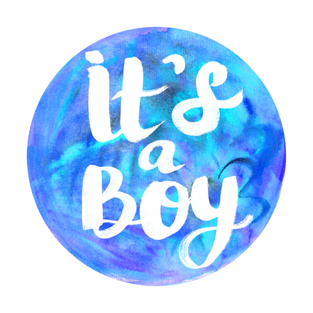 Its a Boy watercolor badge Abstract watercolor round design with lettering Stock Photo