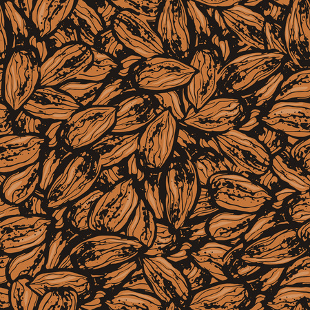 Ink hand drawn seamless pattern with almond