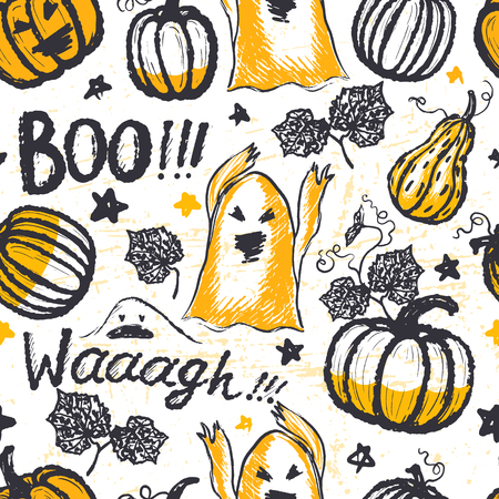 hand print: Ink hand drawn seamless pattern with halloween symbols and lettering Illustration