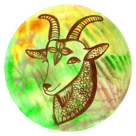 Watercolor badge with goat Vegan style illustration