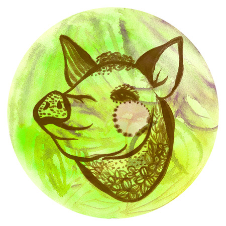 Watercolor badge with pig Vegan style illustration Stock Photo