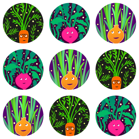 Seamless pattern with funny vegetable characters.