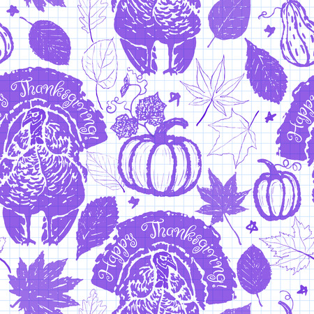 Thanksgiving seamless pattern with ink hand drawn turkeys, autumn leaves and pumpkins Illustration