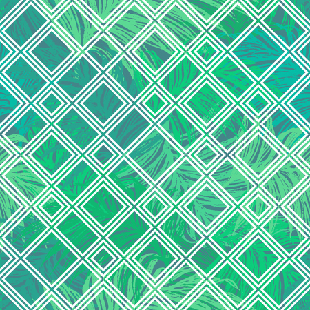 Seamless vector composition of tropical palm leaves under white grid 일러스트