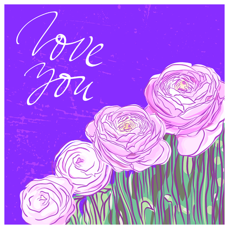 You are my soul lettering on a background with pink ranunculus flowers Illustration