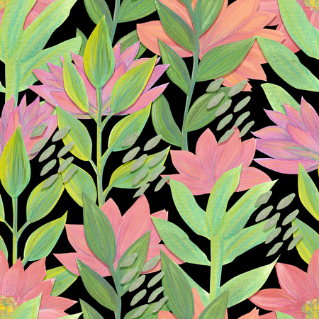 Gouache painted flowers and leaves Bright seamless pattern