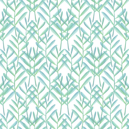 Seamless pattern with gouache painted plants Creative floral illustration in collage style