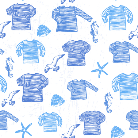 Vector design with a marine mood Seamless illustration with blue and white sailors striped vests and sea animals