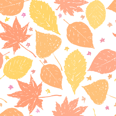 Autumnal seamless pattern with leaves on white background