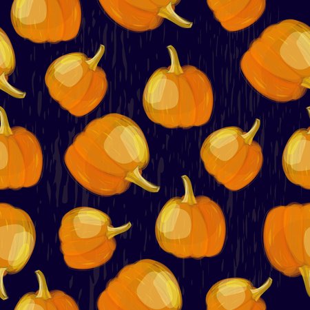 Seamless pumpkins pattern Vector ornament with pumpkins Illustration