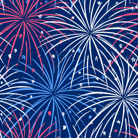 Vector seamless pattern with fireworks in the night sky on Independence Day July 4th