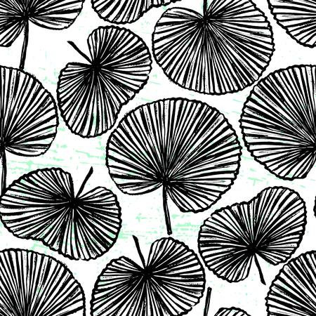 Black and white illustration Hand-drawn plants on white background Vector design