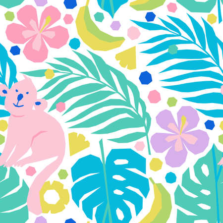 Vector seamless pattern in applique style with tropical palm leaves, fruits, flowers and monkeys
