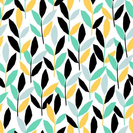 Vector seamless pattern in applique style with twigs leaves