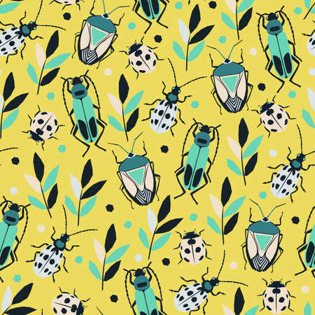 Collection of beetles. Vector seamless pattern with bright and funny insects. Colored geometric bugs.