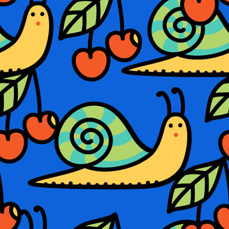 Bright vector seamless pattern with snails and cherries